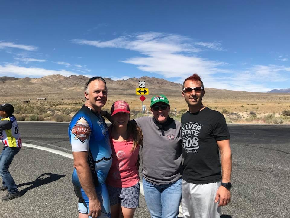 You never know who you're going to find out in the middle of Nevada! Moria (second to right) is a seasoned Great Basin CompuTrainer cyclist who is a valued member of our cycling community. When she realized it was the Silver State 508 weekend, she texted our team and made a rendez-vous at the infamous Middlegate bar, restaurant and hotel. Left to right: Rich Staley, Rebecca Eckland (the author), Moria Shea and Tilio Lagata.