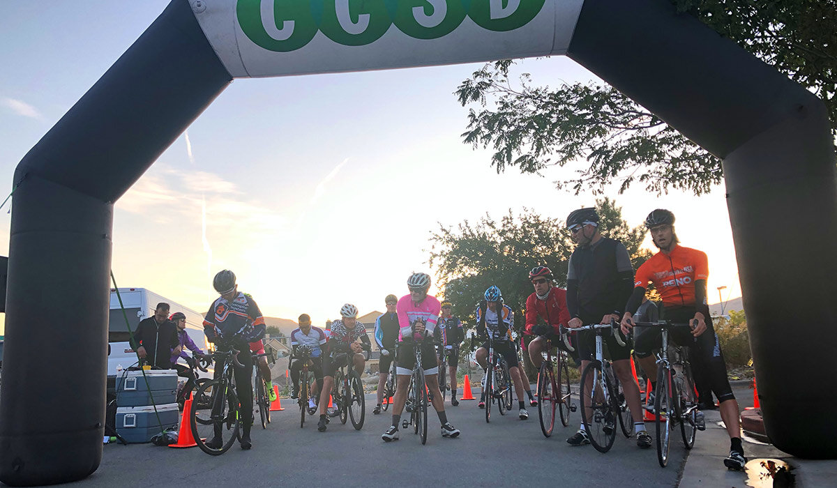 """The start line for the teams racing in the Silver State 508. Mike (far right in the """"Reno"""" jersey would give us a nine-minute lead over everybody else due to his incredible climbing skills."""