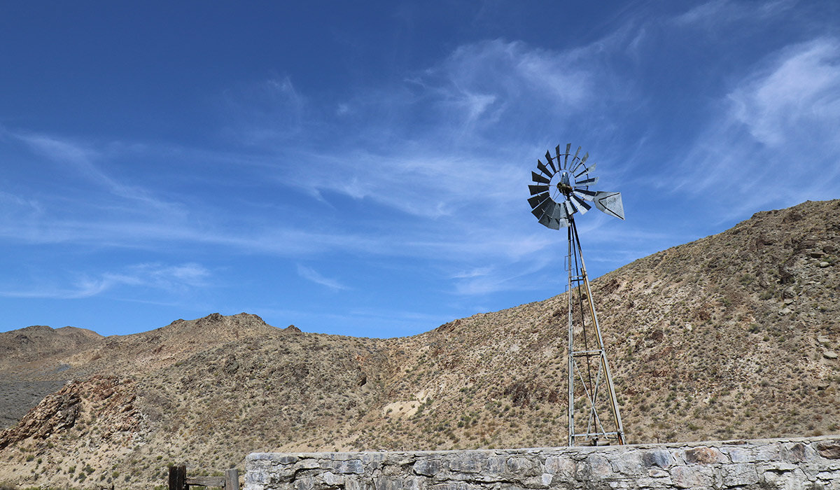 A windmill-powered water pump is all that's left of an outpost for Pony Express riders. There wasn't much water in the basin this year. Otherwise, I might have jumped in!