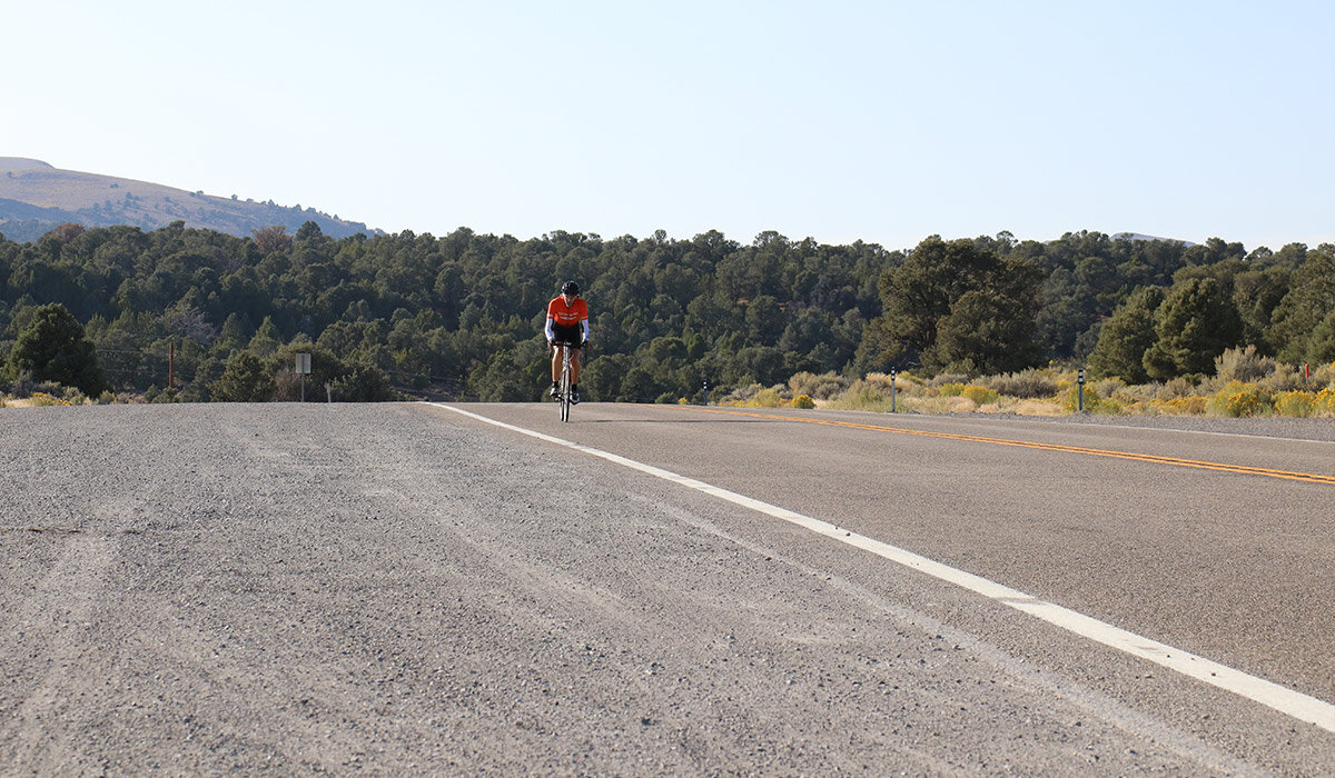 Mike cresting Hickson Pass, the second climb after he rocked it up the climb out of Austin.