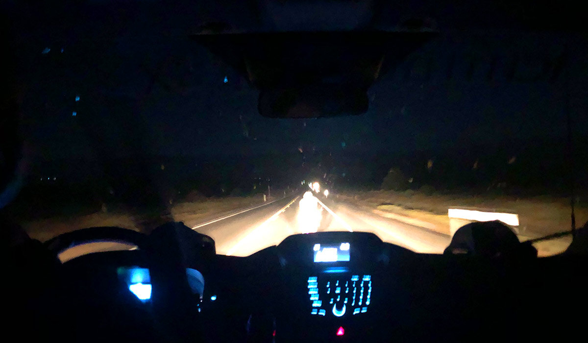 It's hard to see, but the big mass of white light in the middle of the windshield is Rich. Here, he's riding back through the Reese River Valley toward the Smith Creek Ranch where he will exchange the GPS tracker with Mike. Rich is a very steady rider, and his cadence is mesmorizing.