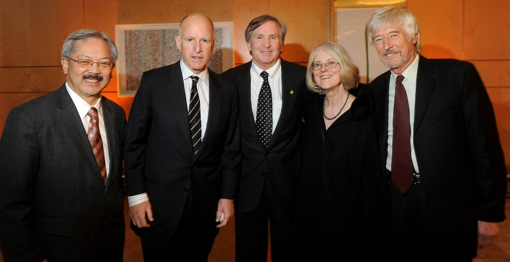 Rae Lyn was an honored guest at the opening of a new hospital at Mission Bay, San Francisco, in 2014. (left to right): Ed Lee, mayor of San Francisco; Jerry Brown, governor of California; Brook Byers, renowned venture capitalist; Rae Lyn; Dr. Regis Kelly.