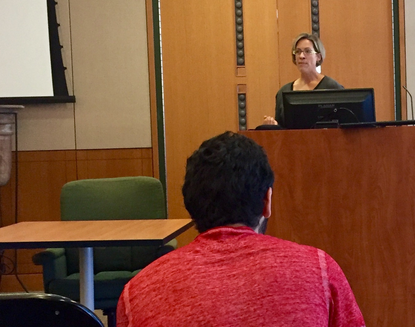 "Susan Brower-Toland presenting her paper, ""I Will Survive: William Ockham on Memory and the Interim State."""
