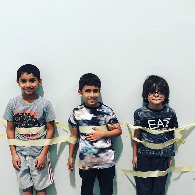It's always a good sign when the campers tape themselves to the wall to avoid going home! @curiositylabdubai