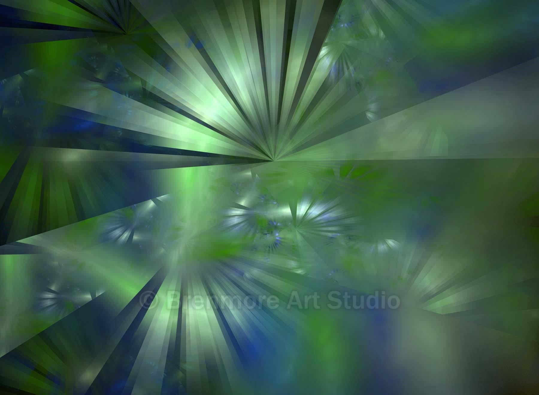 Green Reflective Light Rays on Blue