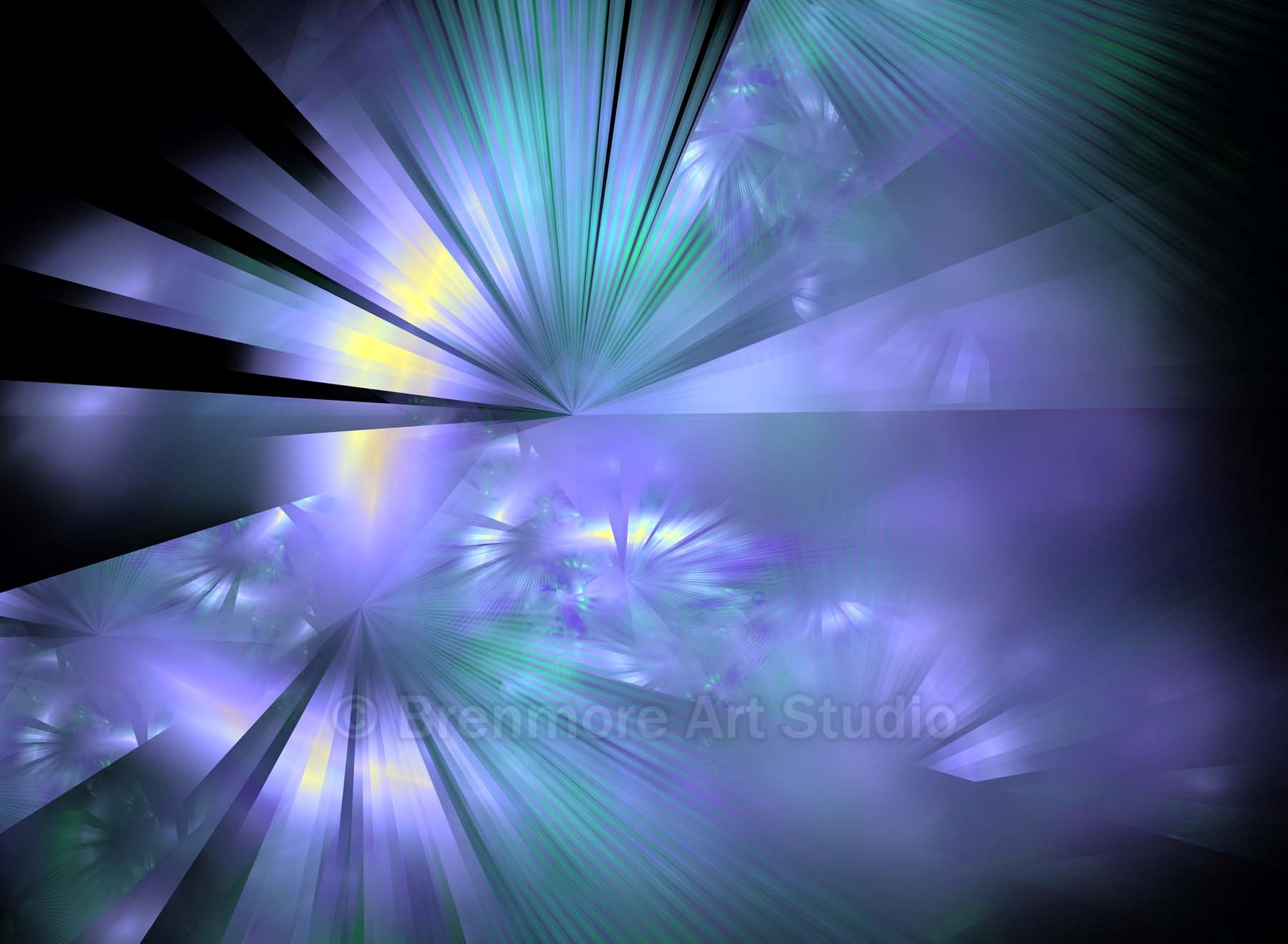 Reflective Light Rays in Purple, Blues and Yellow