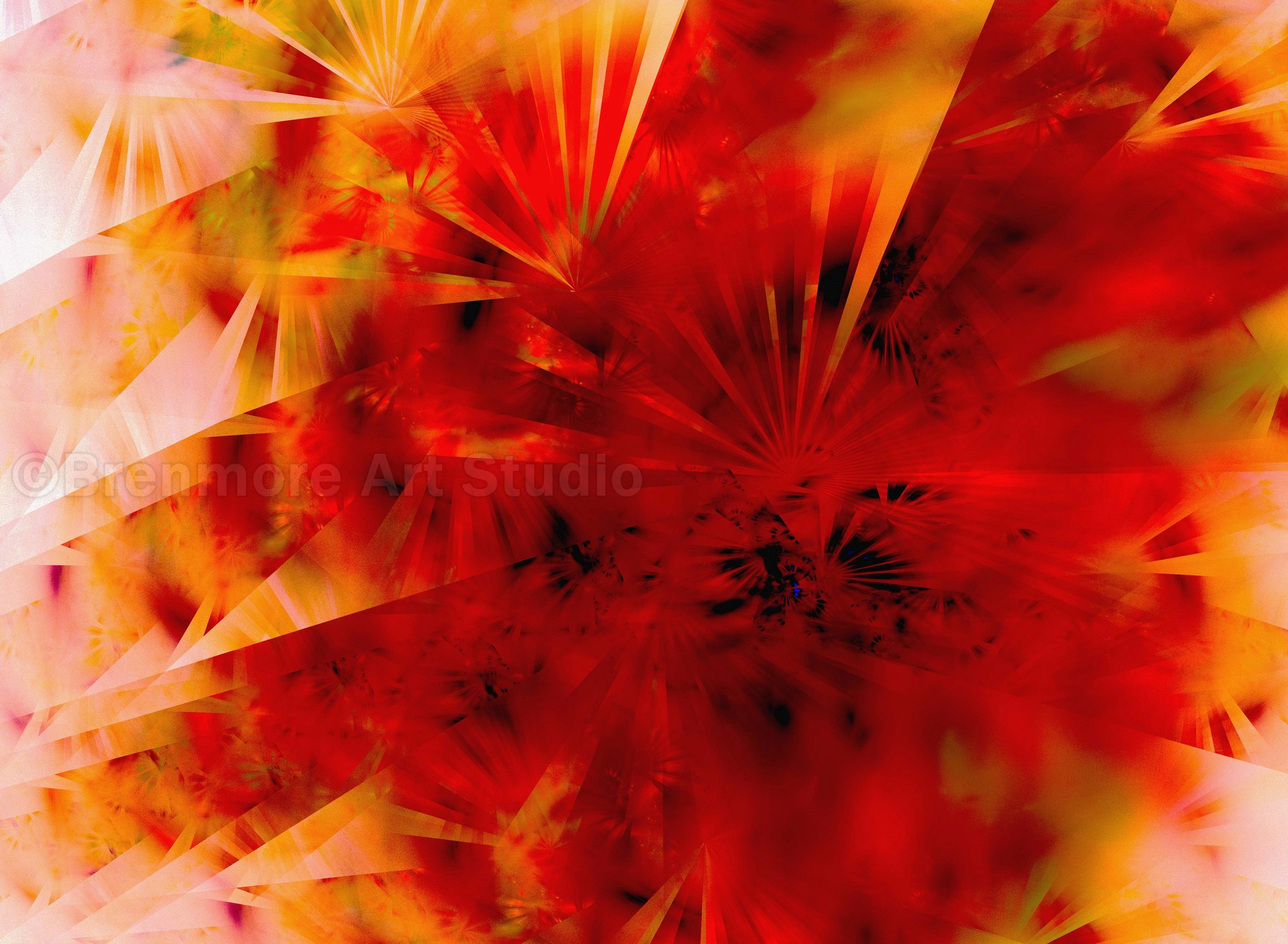 Radiance, reds and golds, flowered fans