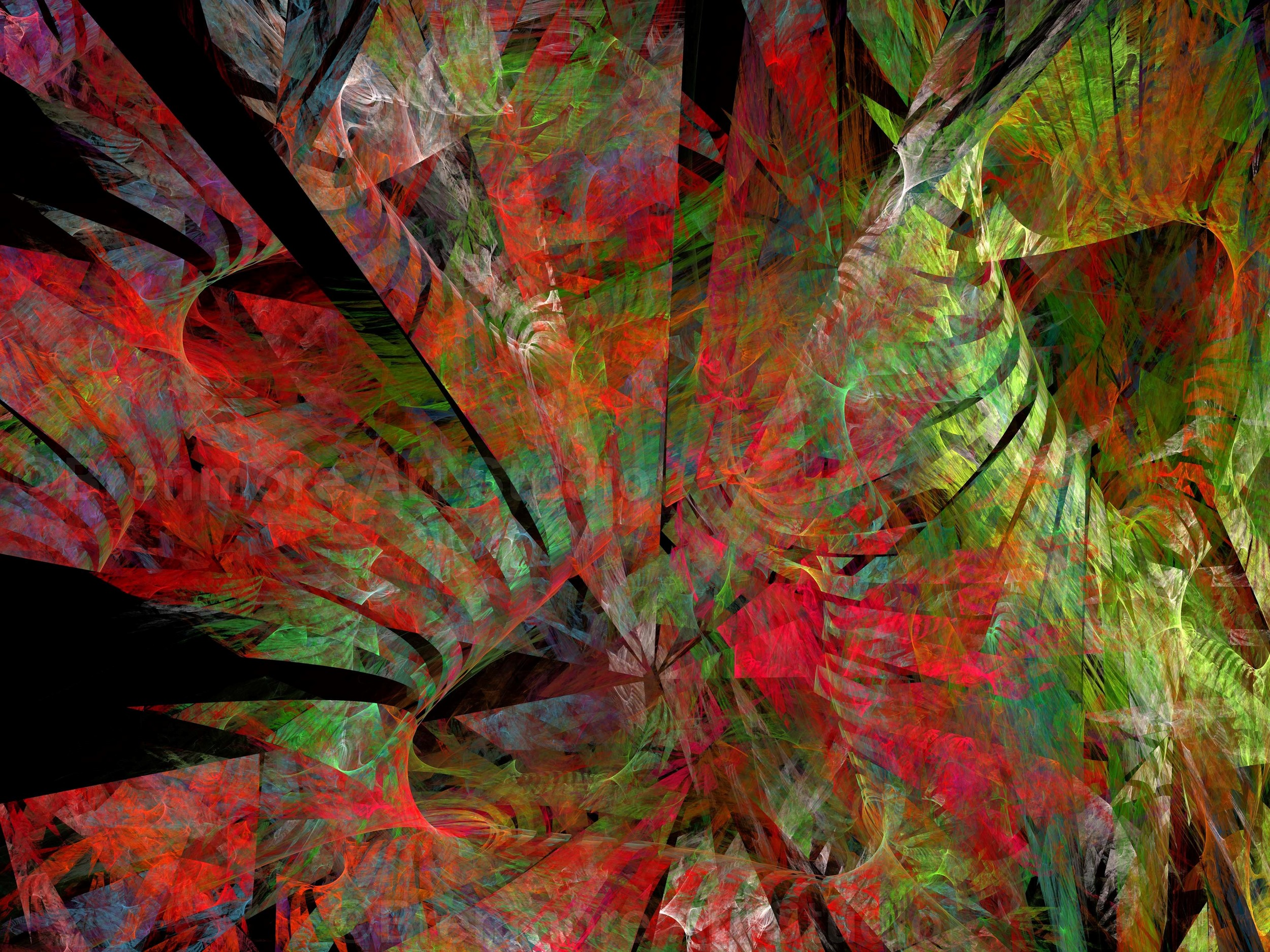 abstract jungle/forest reds and greens