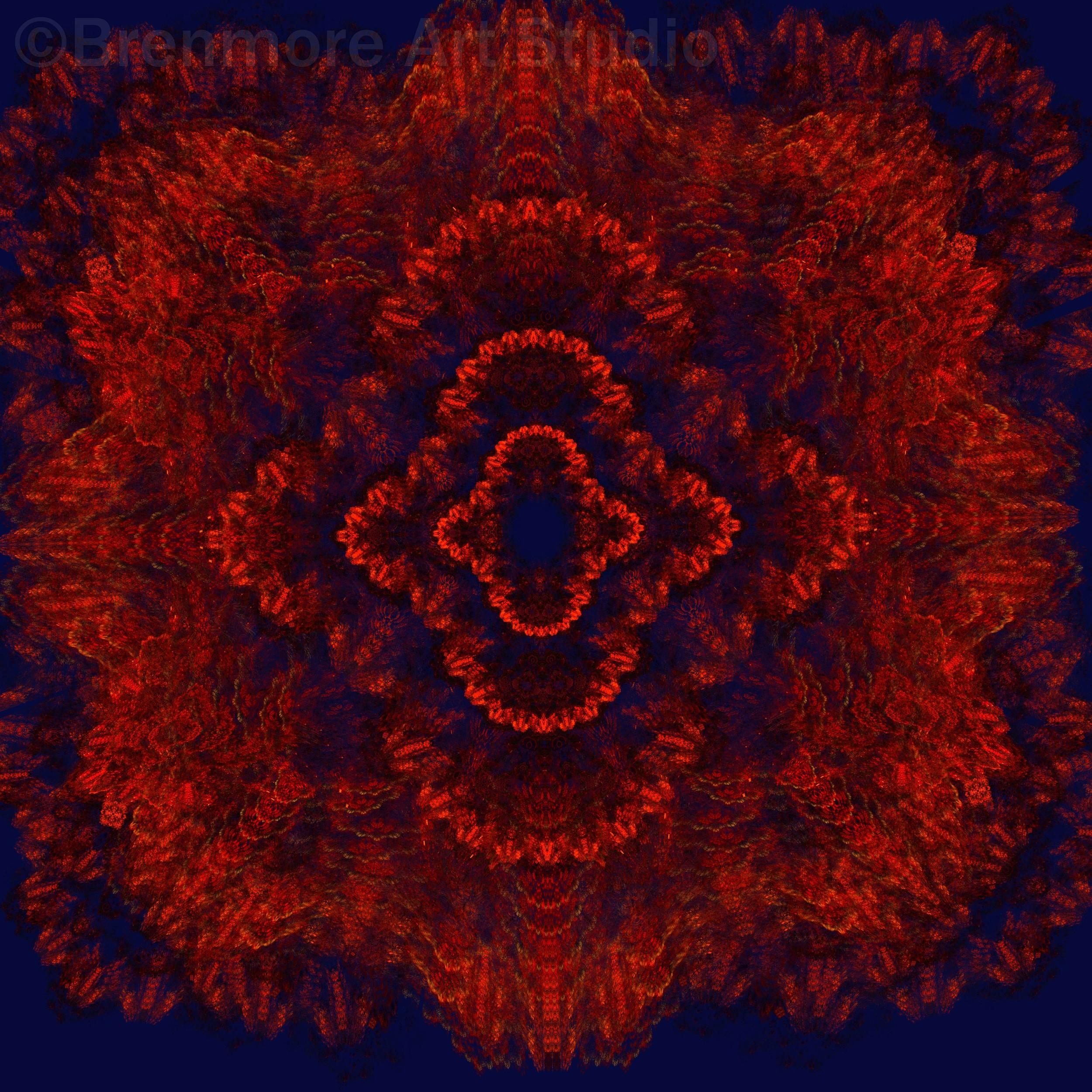 Antique Red Flower Mandala