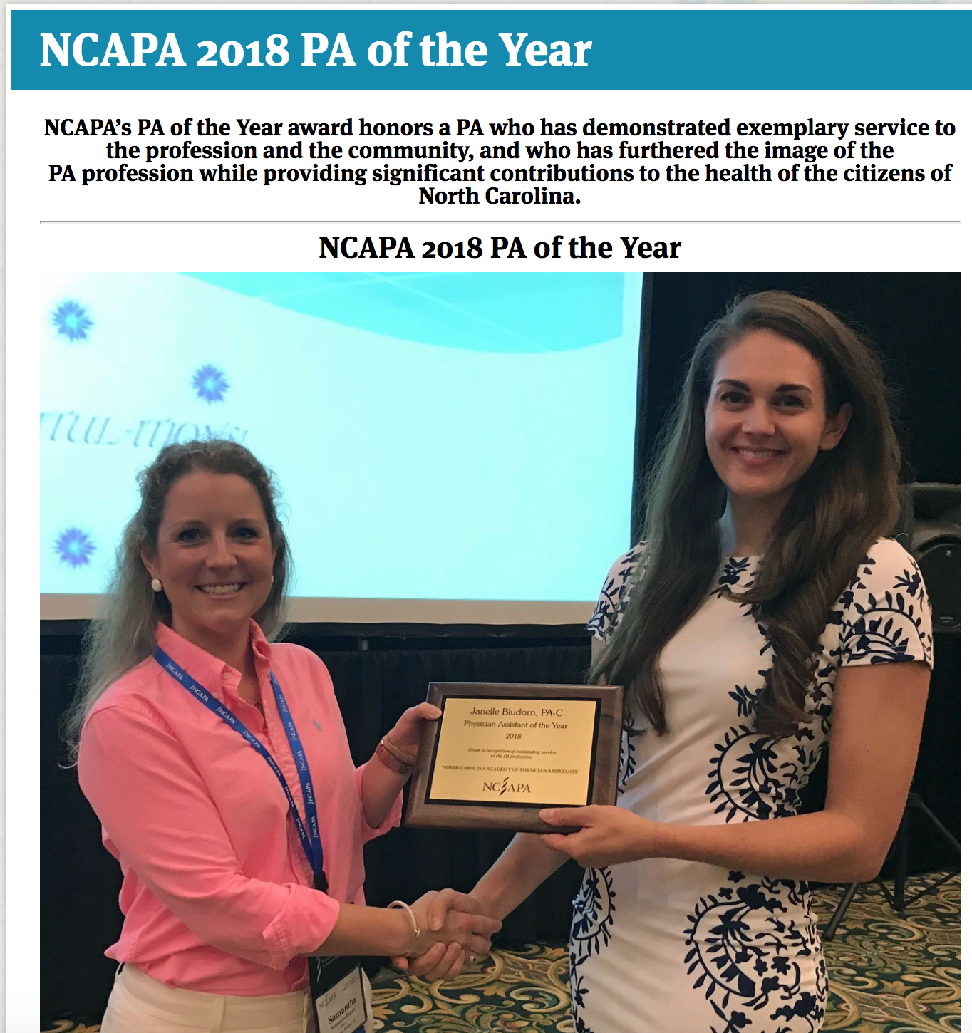NC PA of the Year 2018