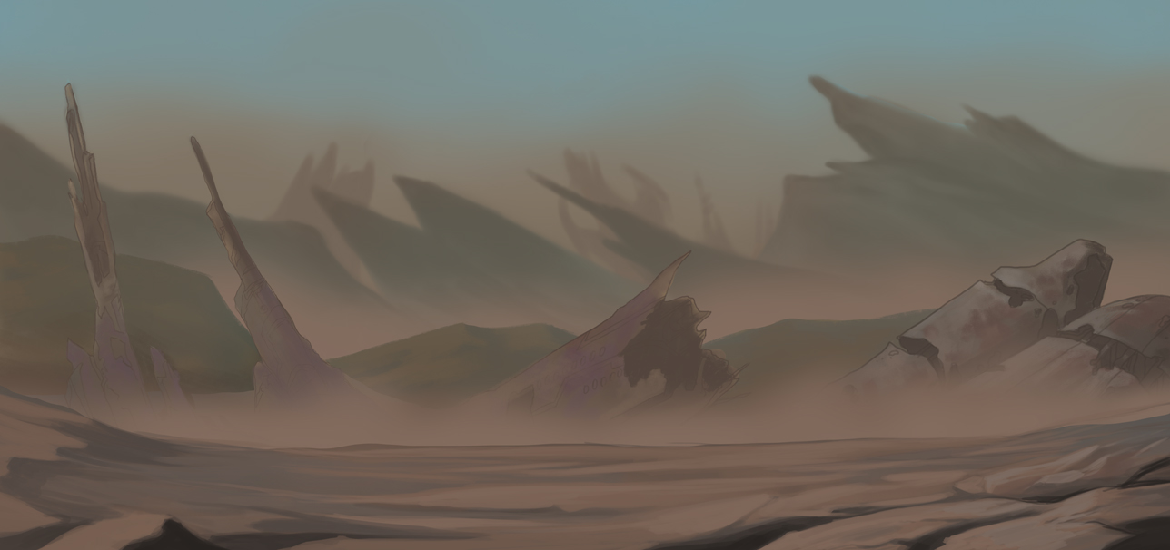 Concept: Smog and dust filled planet, full of crashed remains of old starships.