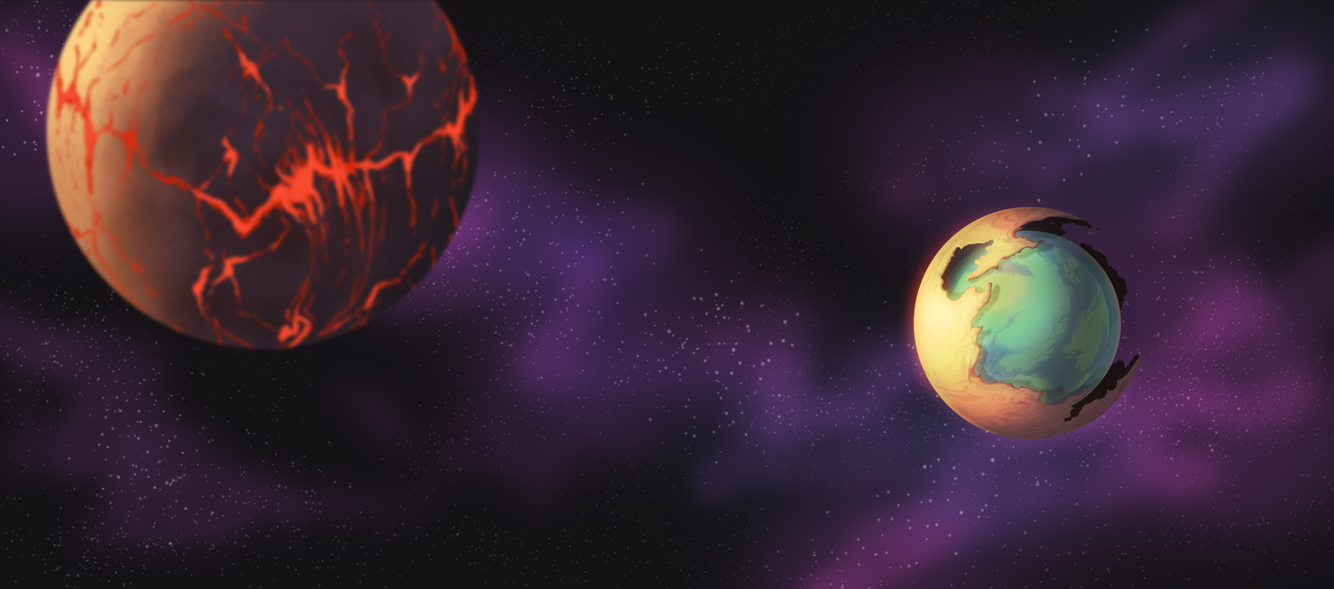 Concept: A planet that was dying, and was re-purposed by an advanced race who kept the old crust and created a new planet within a gargantuan bio-dome. A moon in foreground with active volcanic activity.