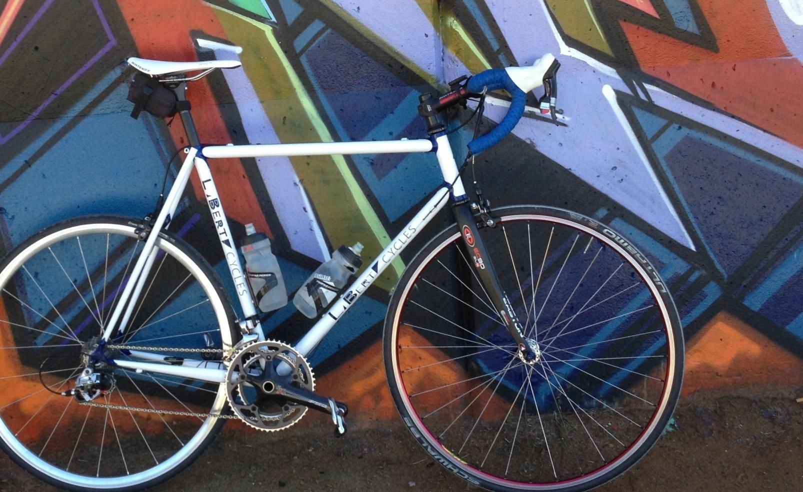 Laberta custom steel bike lugged, white and blue