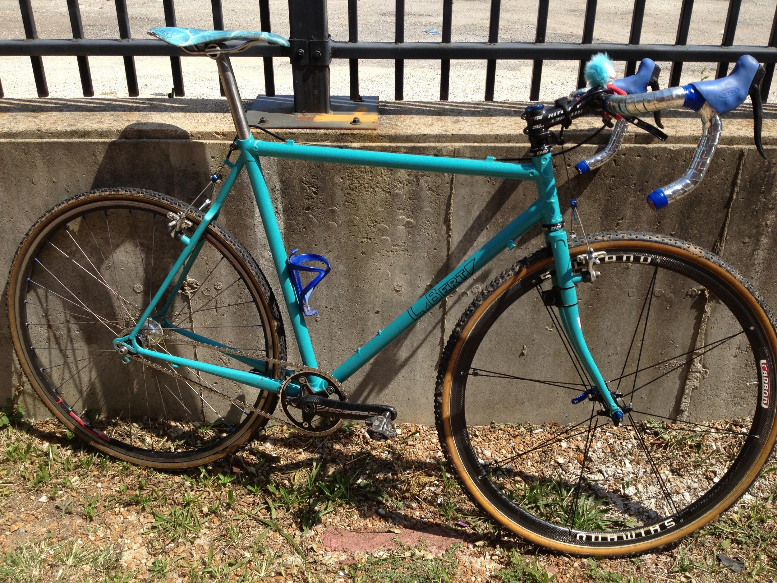 LaBerta custom steel bike teal