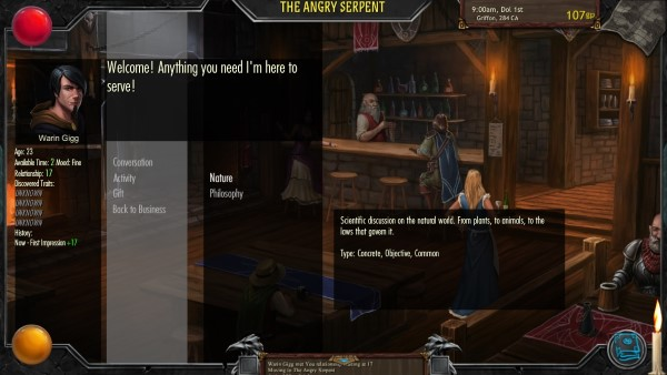 Talk Nature or Philosphy with your good friend the innkeeper!