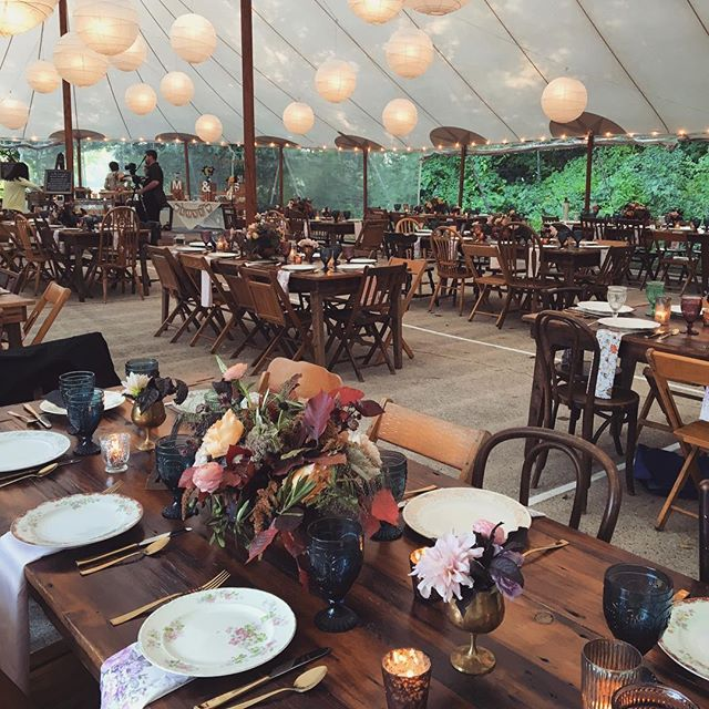 Finding romance in the woods at @campwandawega. Beautiful flowers by @fleurinc, setup and strike by @lightningstrike.chi