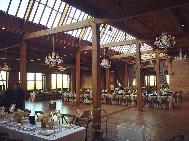 LS hung 6 elegant chandeliers at a @keshdesigns wedding today. We love to make your vision come true!