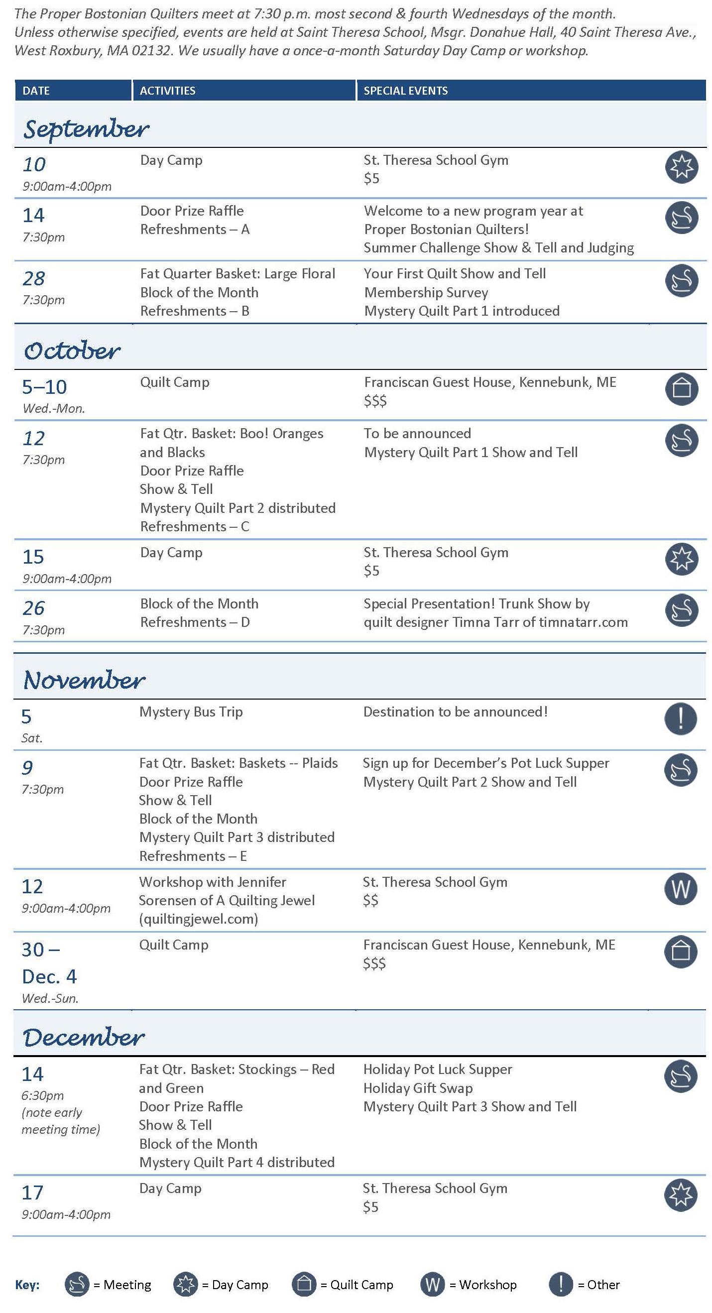 Activity Calendar Fall 2016