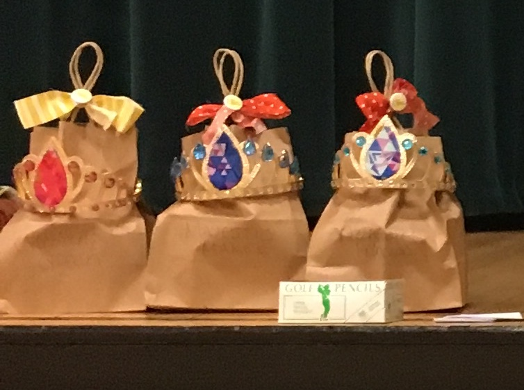 Prize bags with jewel studded paper tiaras!