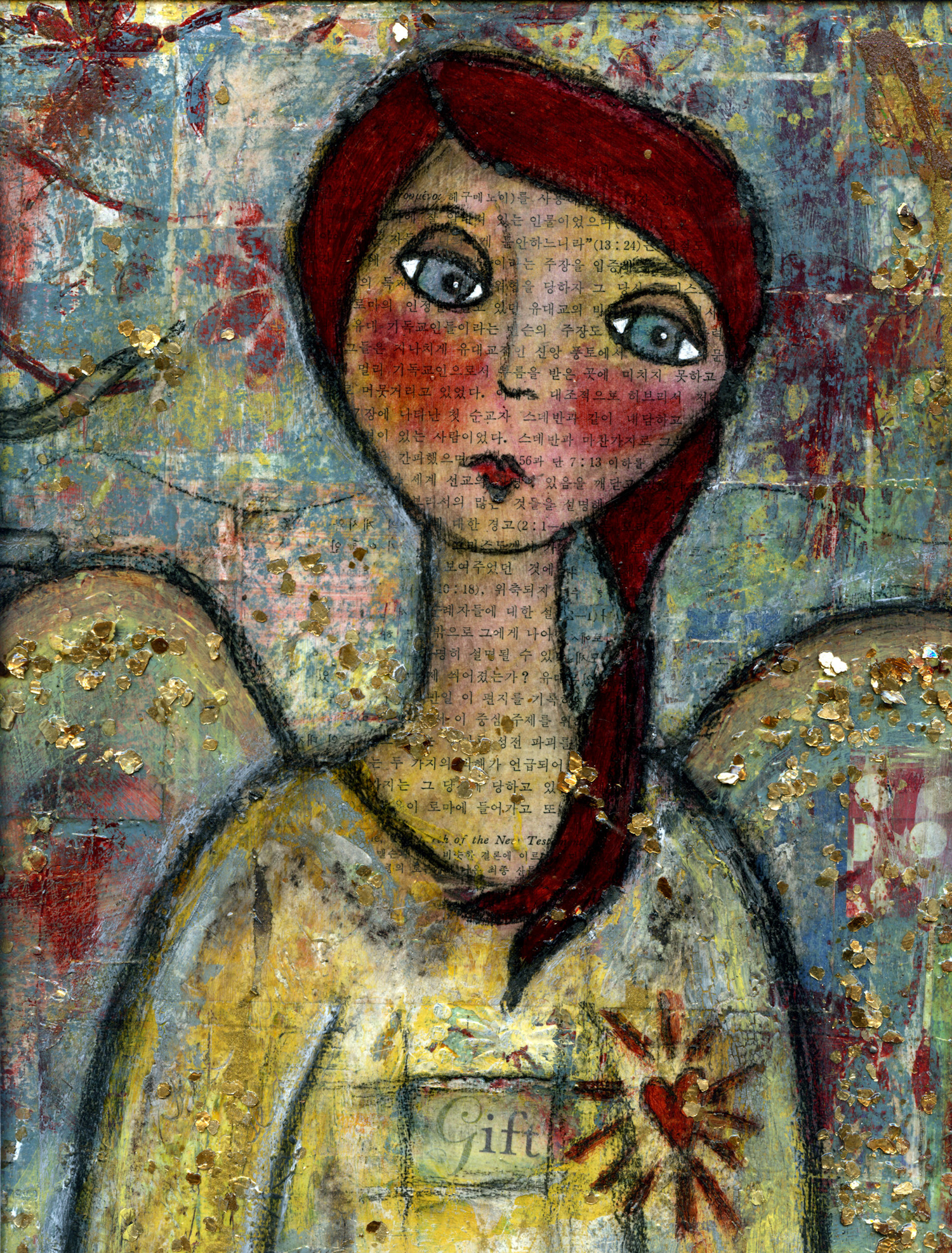 """The Gift"" Mixed-Media Angel Painting by Chrysti Hydeck 