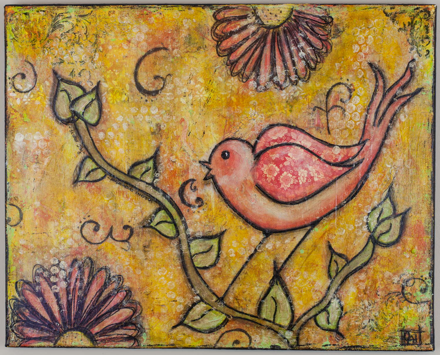 Mixed-Media Bird Painting by Chrysti Hydeck   Created in Raleigh, North Carolina