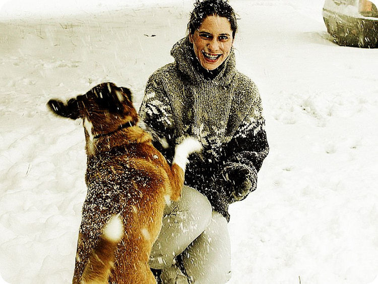 my sweet sadie + i playing in the snow   Raleigh, North Carolina