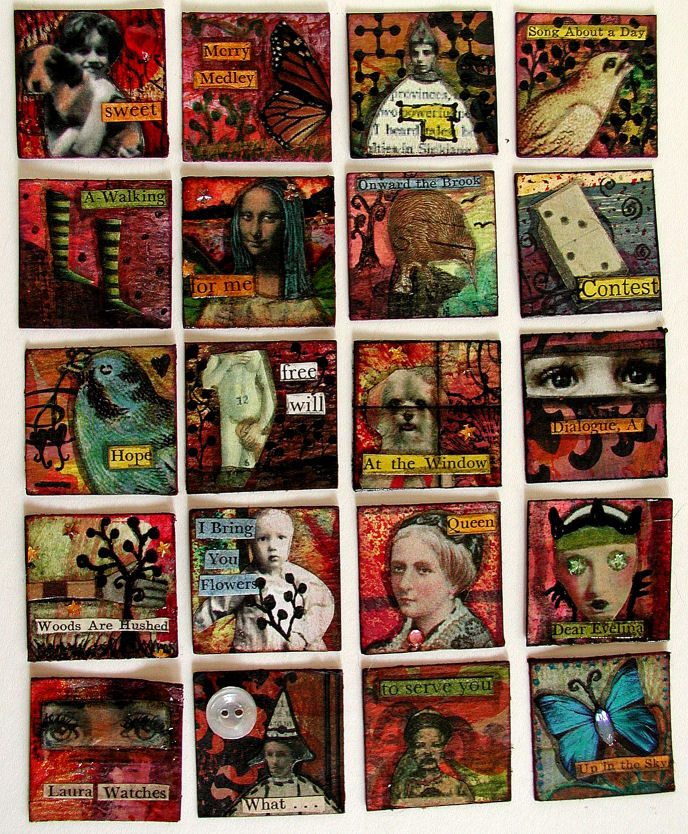 Batch 2 of 100 mixed-media inchies created by:© Christy Hydeck in Raleigh, North Carolina
