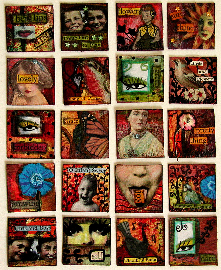 Batch 1 of 100 Completed Mixed-Media Inchies |© Christy Hydeck in Raleigh, North Carolina
