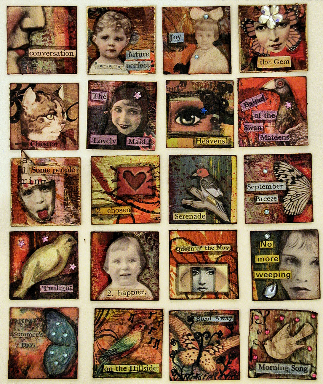 Batch 3 of the 100 mixed-media inchies swap -© Christy Hydeck in Raleigh, North Carolina