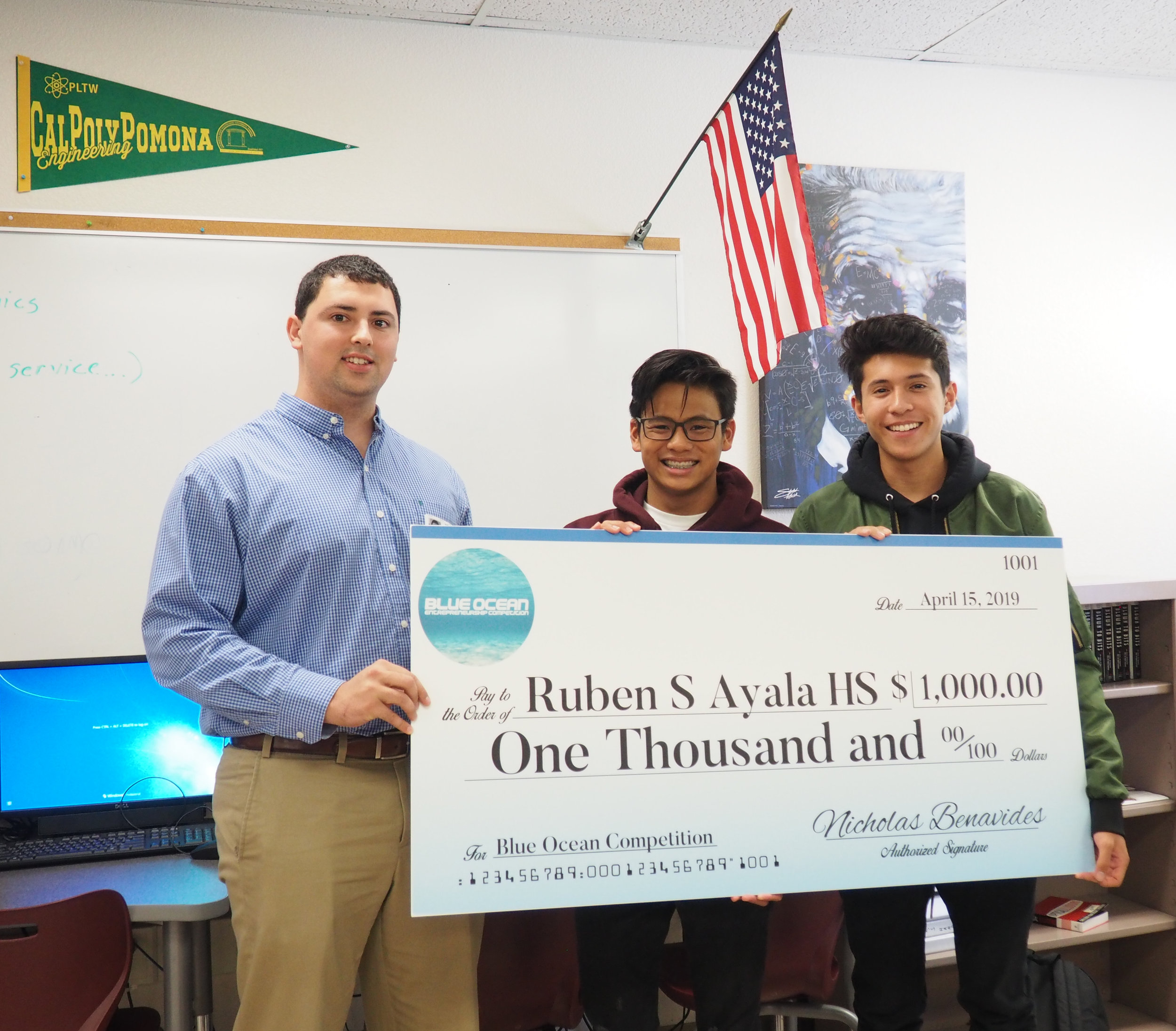 Ruben S. Ayala High School - Click the image to see the photos from Competition Founder Nicholas Benavides visit to Ruben S. Ayala High School in Chino Hills, CA and the case study on how the competition was integrated into the classroom.