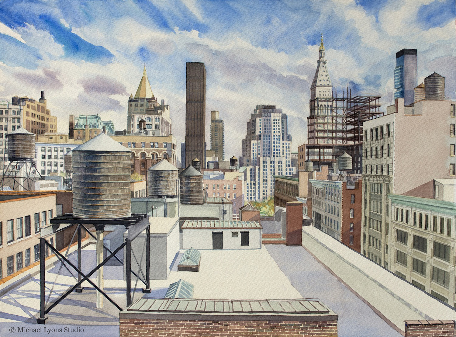 "New York Life   22"" x 30"" watercolor on paper"