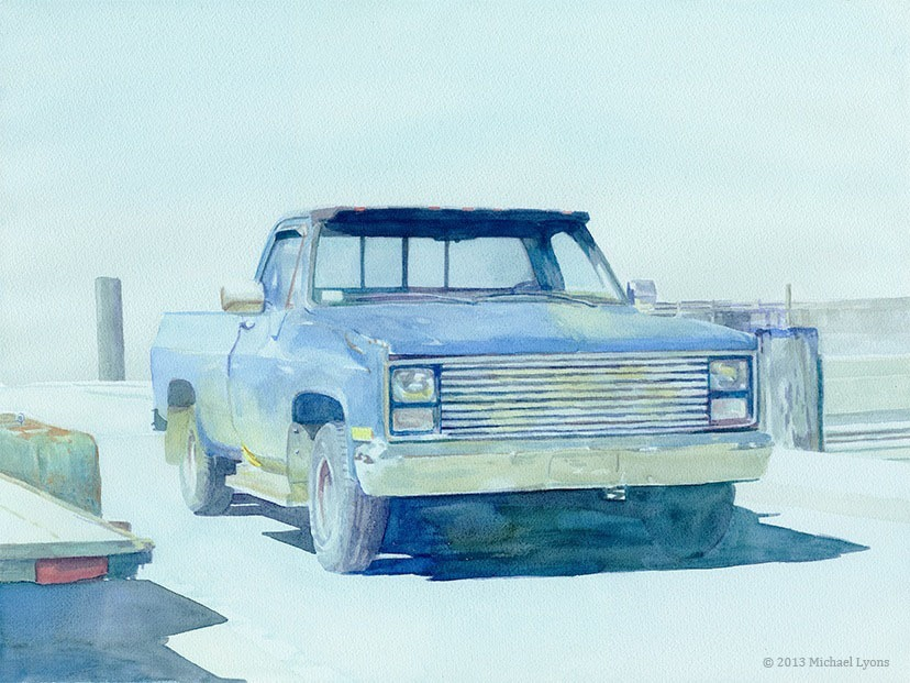 "Pick-up at the Pier   22"" x 30"" watercolor on canvas"