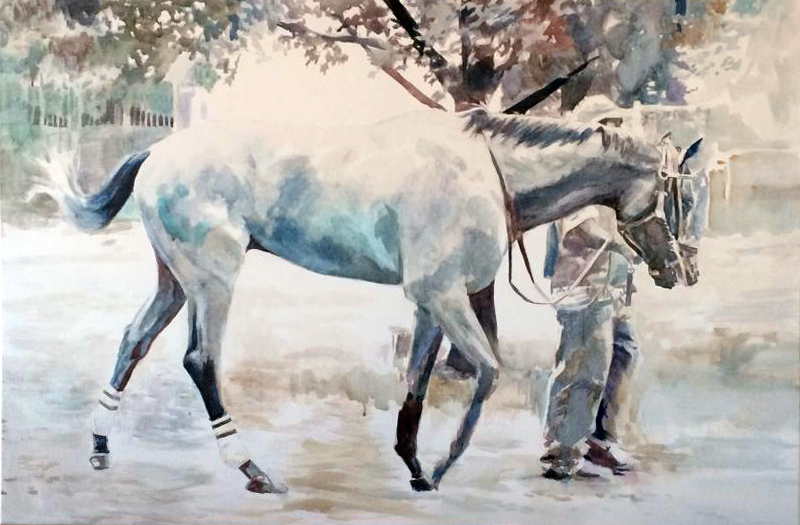 "Paddock Blues   24"" x 36"" watercolor on canvas"