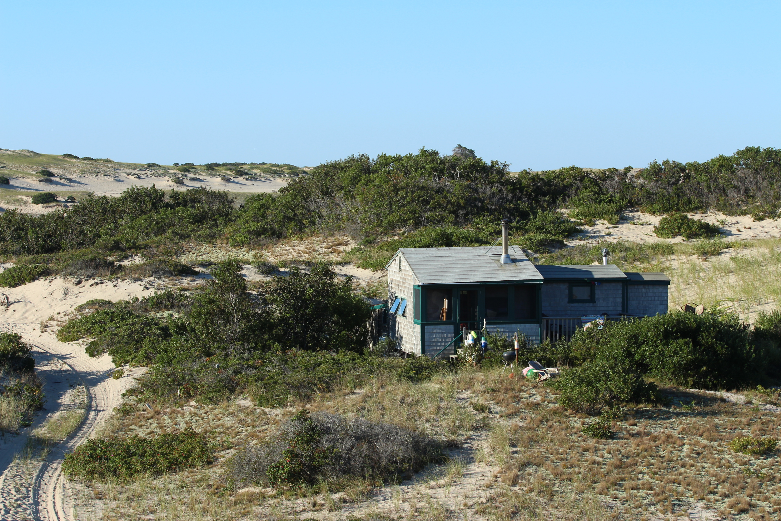 Good view of the Fowler Shack in all its glory. To the left of the shack is the makeshift sand road that Chip used to drive me and my stuff out in his truck. After this memorable New England winter many of the dune roadways had to be re-established.