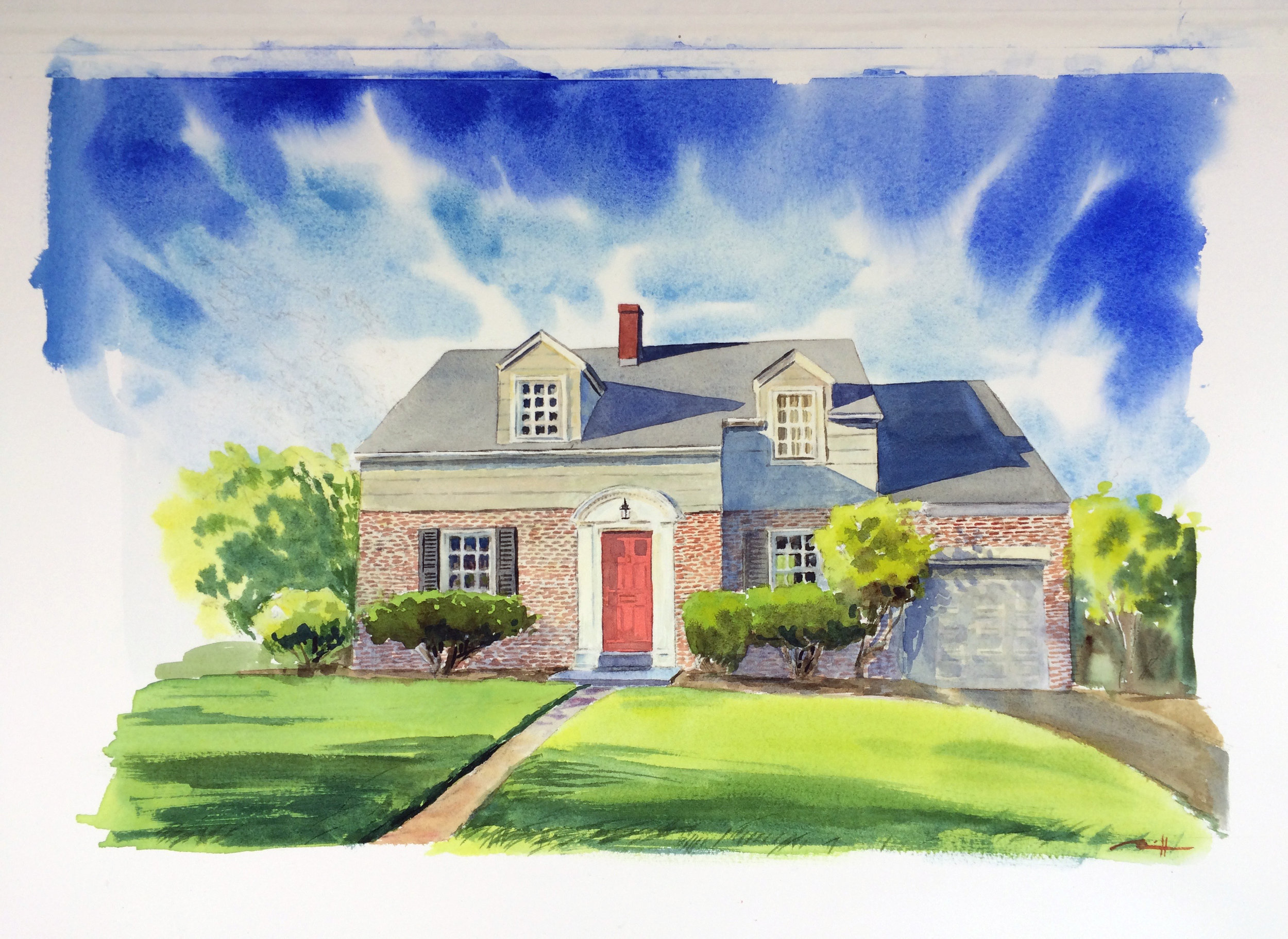 "Watercolor House Portrait, 11"" x 14"""