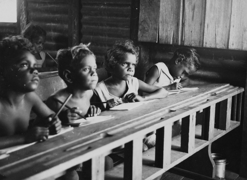 Photograph:   School, Mornington Island , 1950 . Courtesy of the State Library of Queensland and the community of Mornington Island.