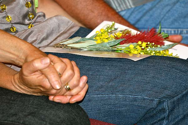 Forgotten Australians, during formal proceedings of the National Apology. Later, flowers were laid in remembrance of those who had passed away. 'Anecdotal evidence has shown an abnormally large percentage of suicides among care leavers' (The Senate Community Affairs Reference Committee  Forgotten Australians , 2004, xvi). Photo: Jeremy Lucas, National Museum of Australia.
