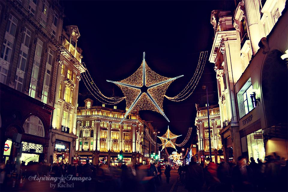 London Christmas Lights on Oxford Street via Aspiring Images by Rachel