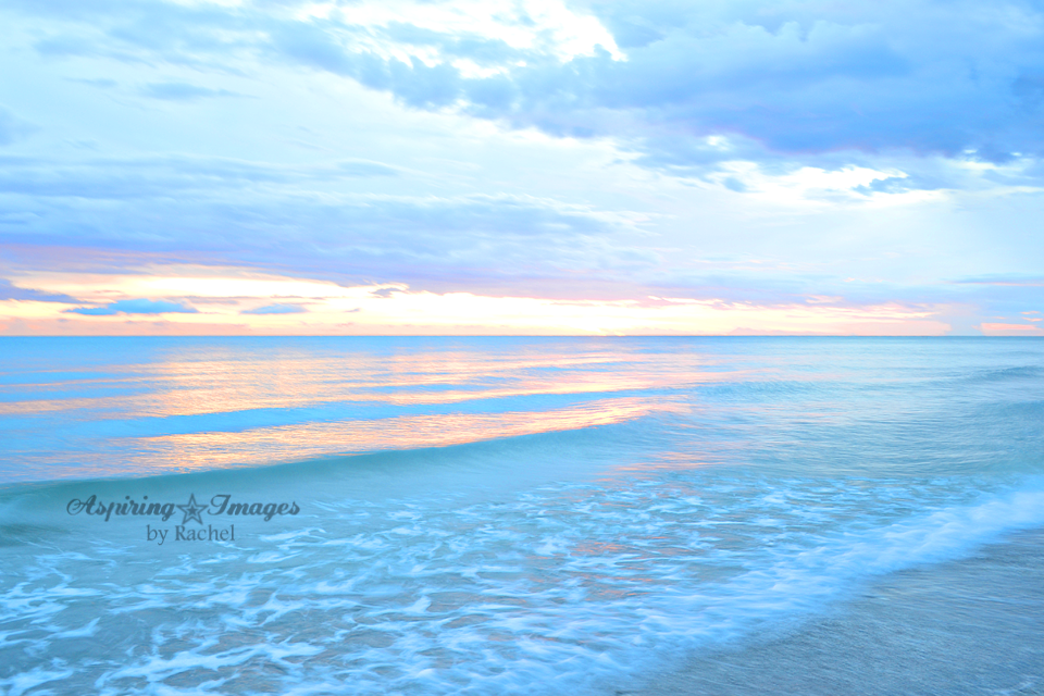 Bright Pastel Blue Ocean Sunset by Beach Crossover Boardwalk at Sunset by Sand Crossover Sea Grass by Aspiring Images by Rachel