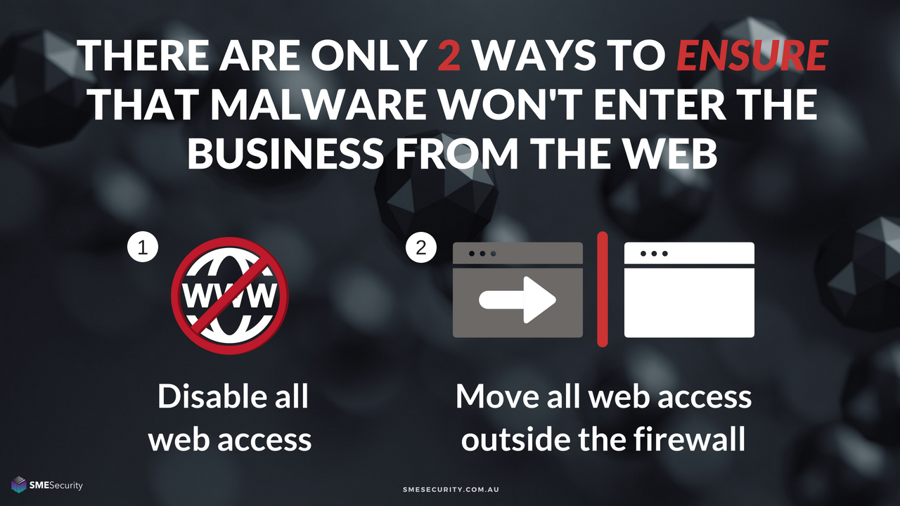 there are only 2 ways to reliably ensure that malware won't leak into the business from the web - isolated browsing