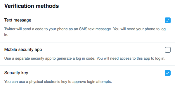 Twitter supports multiple forms of verification methods. YAY.