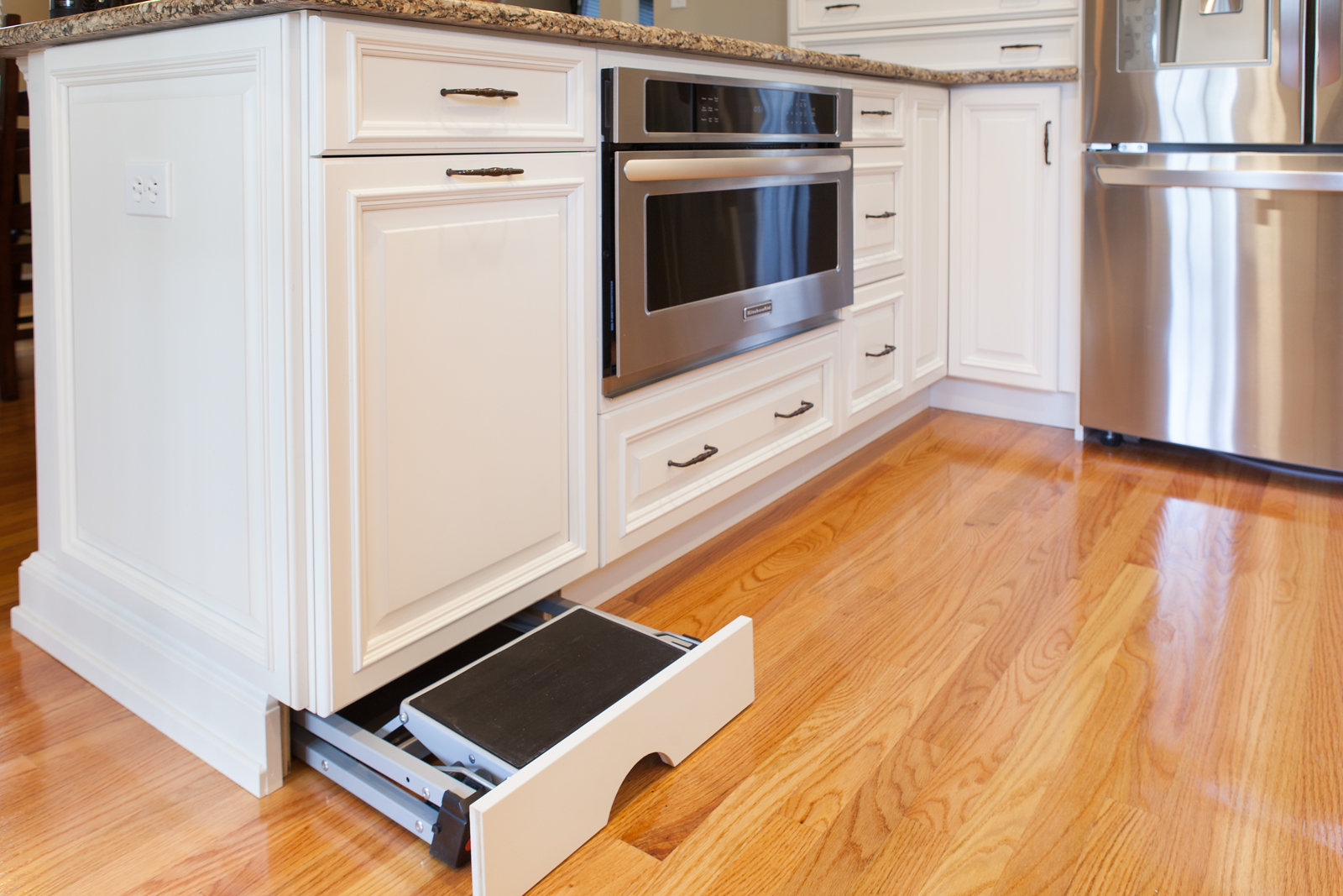 Toe Kick Step Stool Installed in a Robinwood Kitchens Project  (Photo Credit: Robinwood Kitchens)