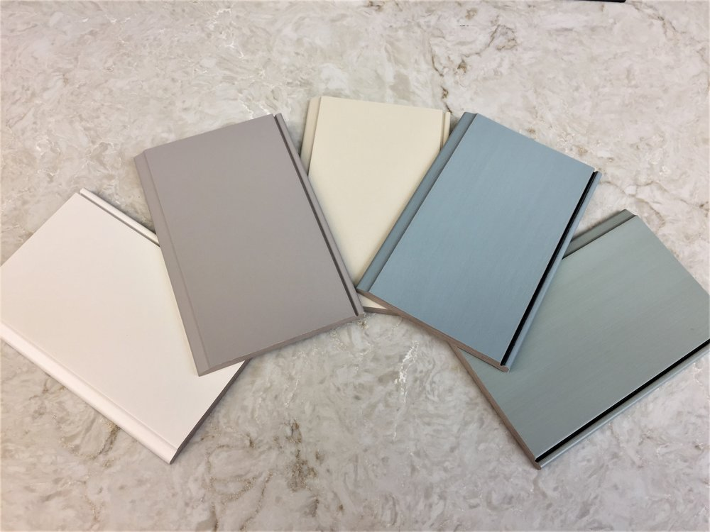 """From Left to Right: """"White Sand"""", """"Khaki"""", """"Fawn"""", """"Mystic Blue"""", """"Mystic Green"""""""