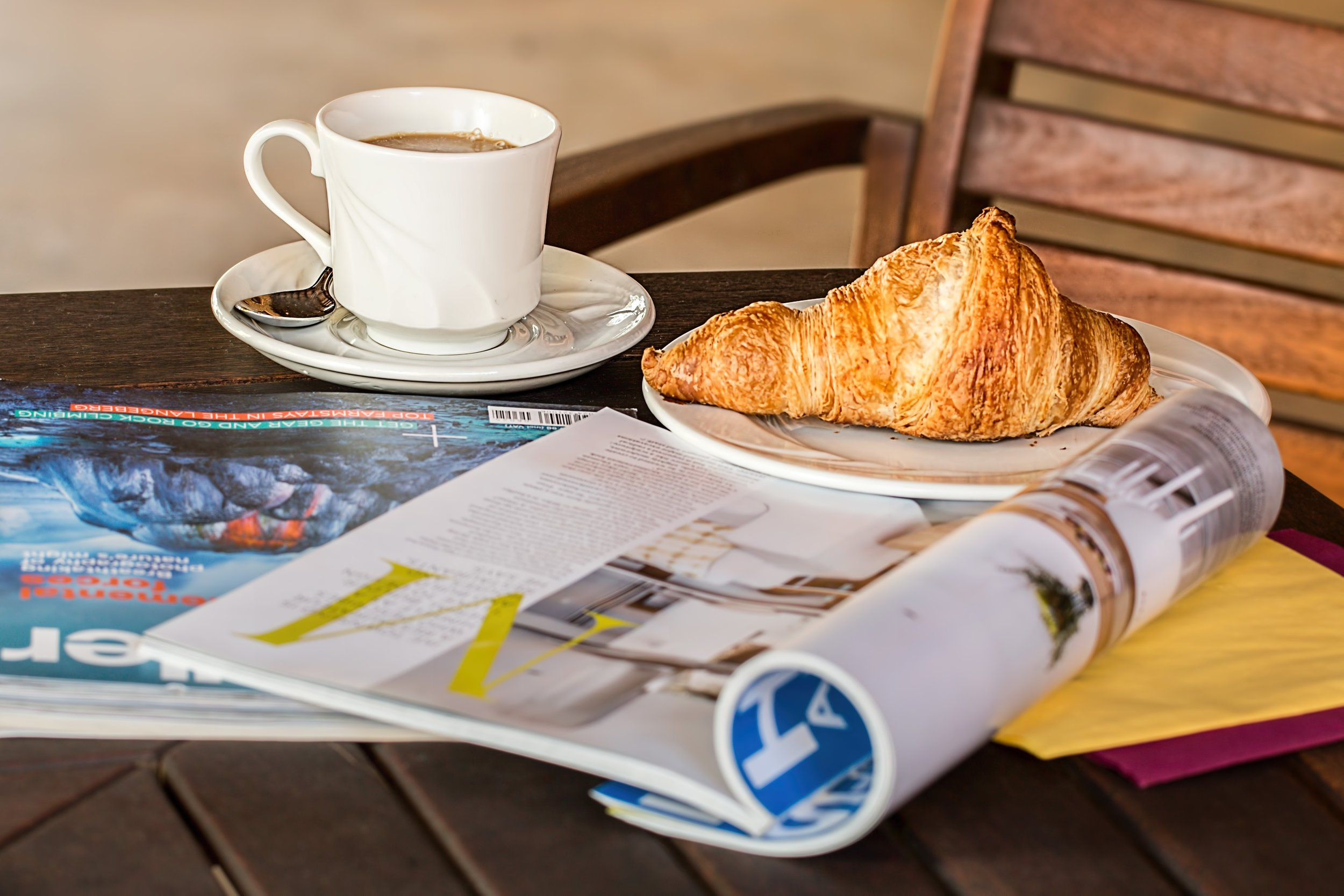 Croissant. Coffee. Reading. Yes, please!