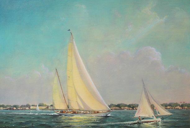 PETER ARGUIMBAU    Starboard Tack    The William Fife deign,  Sumurun , leaving Newport Harbor.  22 x 31 inches