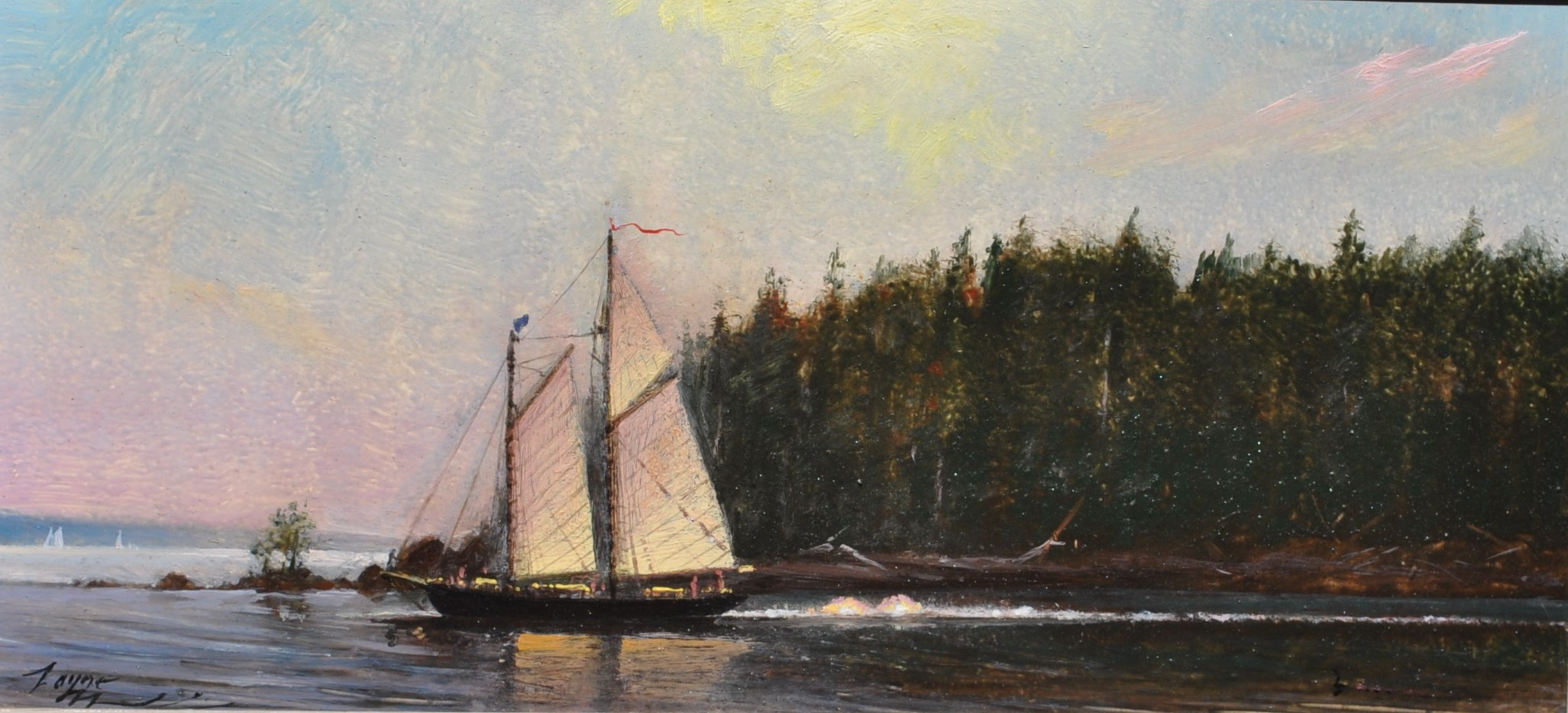 PETER ARGUIMBAU    Maine Schooner, Penobscot Bay, ME    An inlet along the south-central coast of Maine. Along the bay you can find ports like Rockland, Rockport, and Stonington.  10 x 22 inche