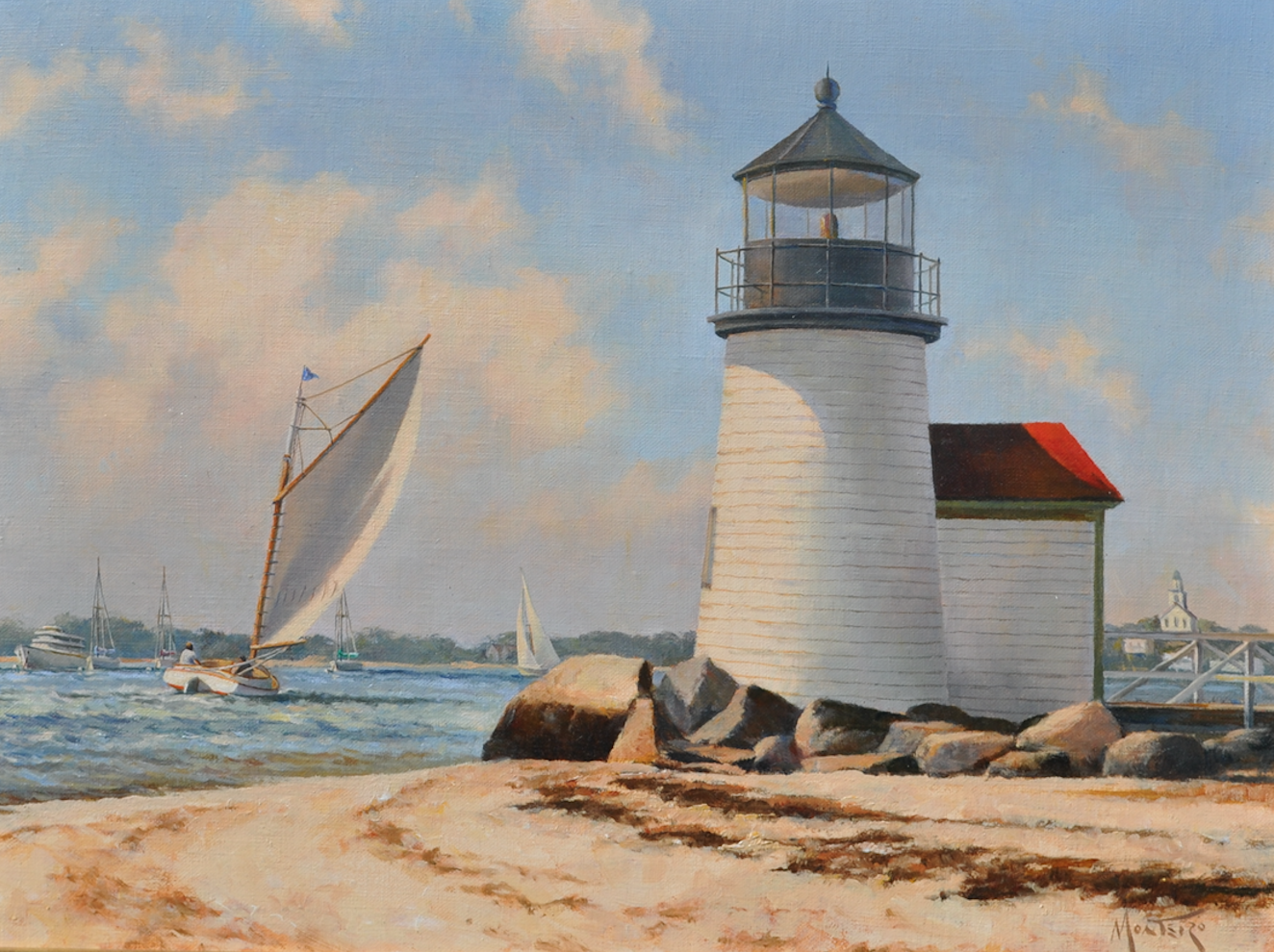 DAVID MONTEIRO    Brant Point Lighthouse    Catboat,  Gannet , passes by historical Brant Point Lighthouse, built in 1901. This current day light is the tenth light at this station since 1746, the structures prior had either burned, blown away or rotted.  12 x 16 inches