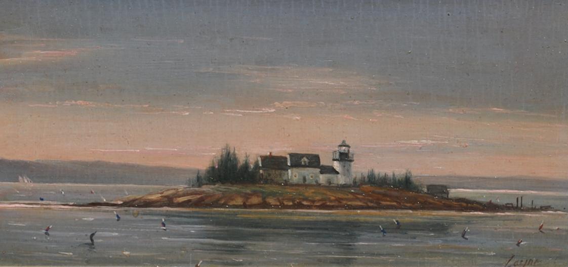 PETER ARGUIMBAU    Pumpkin Island Light, Maine    Pumpkin Island Light is a lighthouse located at the northwestern entrance to Eggemoggin Reach on the coast of eastern Maine.  7 x 15 inches