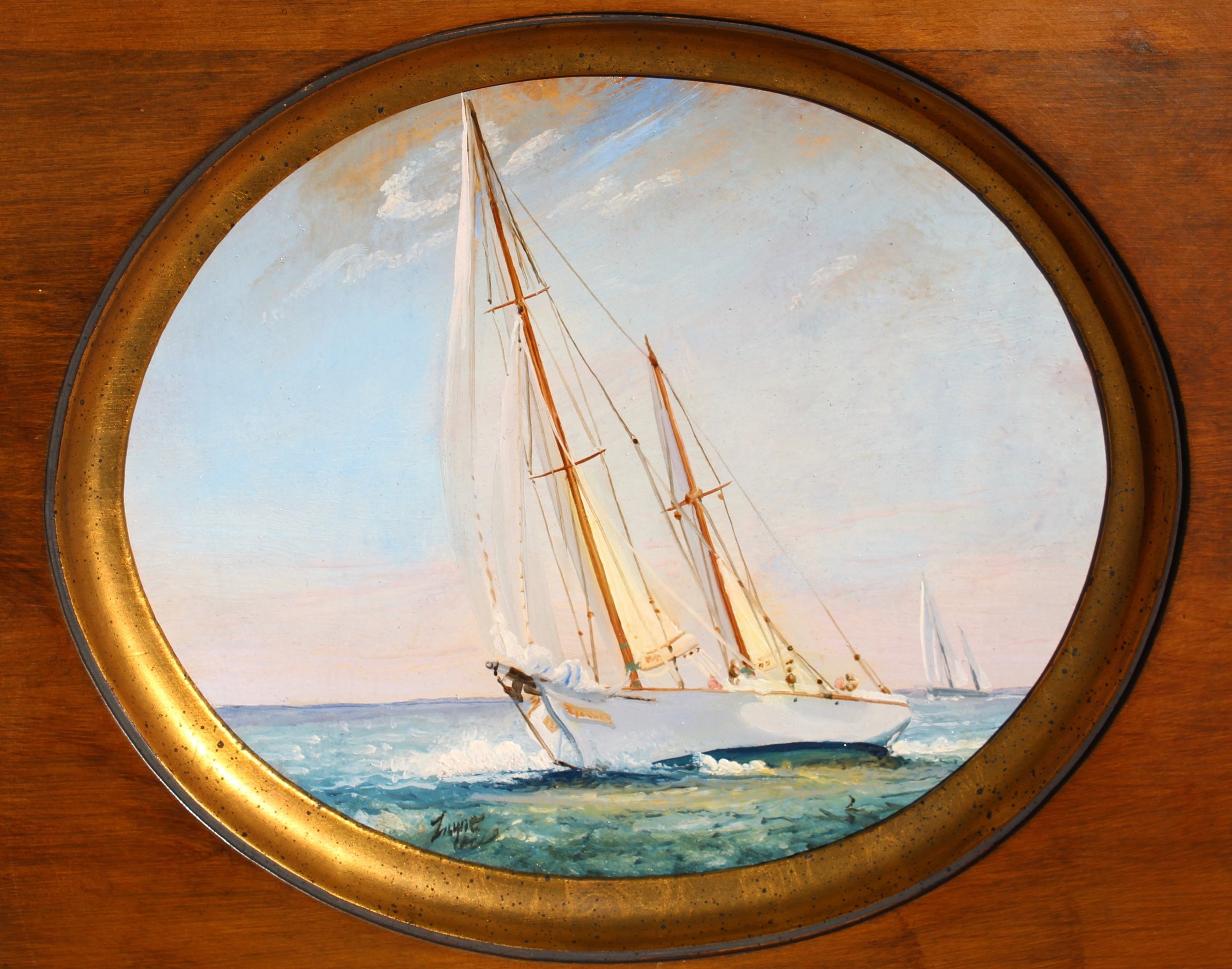 PETER ARGUIMBAU    Ticonderoga Close Hauled     Ticonderoga  is a legendary classic sailboat designed by L. Francis Herreshoff. The 72-foot clipper-bowed ketch was built by the Quincy Adams Yacht Yard in Massachusetts in 1936.  9 x 11 inches