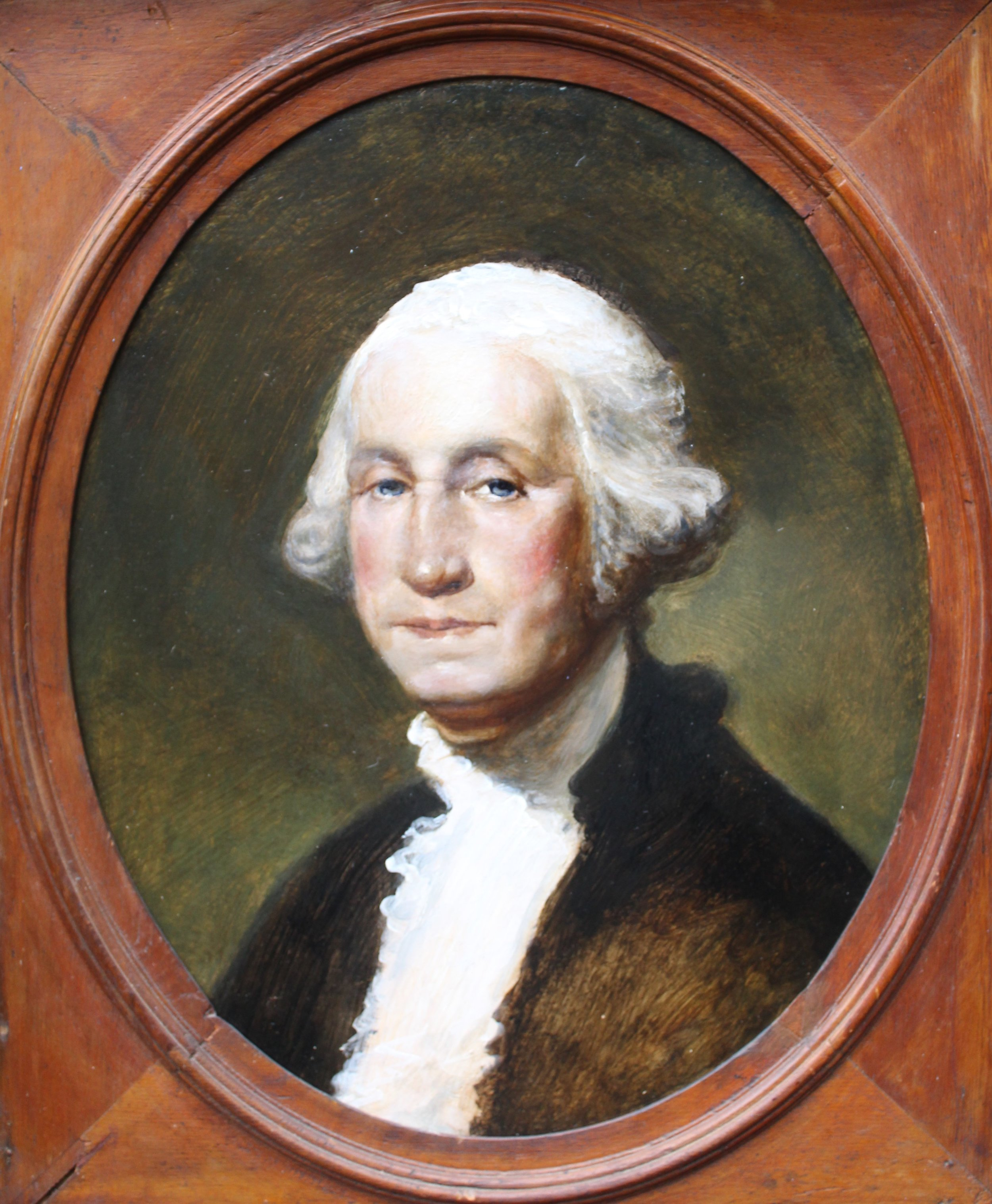 PETER ARGUIMBAU    Our Commander in Chief    A copy of George Washington's official presidential portrait by Gilbert Stuart. Stuart's portrait of the president has been portrayed on the once dollar bill since 1869. The presidential painter began his art career in Newport, RI. An immersive experience can be had at the Gilbert Stuart Birthplace & Museum in Saunderstown, RI.  20 x 16 inches